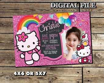 Hello Kitty Invitation,Hello Kitty Birthday Invitation,Hello Kitty Birthday,Hello Kitty Party,Girl Birthday Party,Hello Kitty Invite SL