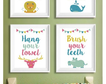 Bathroom Prints, Wash your hands, flush the toilet, hang your towel, brush your teeth, Nursery Print Art for Kids, Digital Download