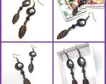 Wire Wrapped Swirly Moon Dangle Earrings with Amethyst