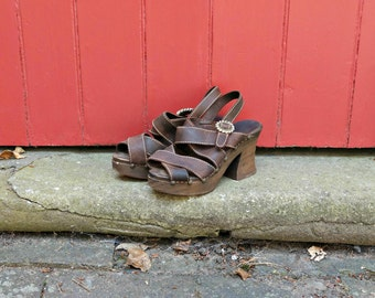 70s platforms | 1970s wooden platform sandals | vintage platform shoes | brown leather sandals