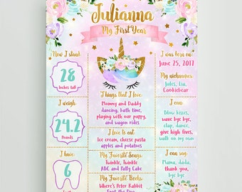 Unicorn First Birthday Poster, Rainbow Stars Unicorn Birthday Milestone Poster, Unicorn Birthday Board, Digital File Printable Poster Prop