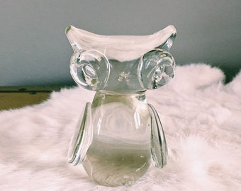 RESERVED // Vintage Glass Owl Figurine / Paperweight
