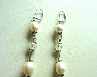 Ivory White Freshwater Pearls and Crystal Dangle Earrings
