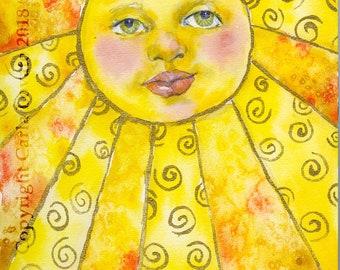 Sun face, Sun face wall art, sun face painting, Watercolor of Sun, Yellow sun face, Childs decor, Original painting, Sun goddess painting, c