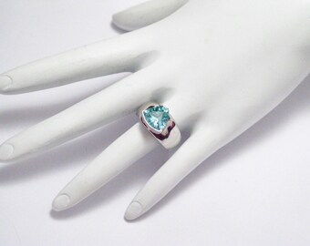 Spinel Trillion sea green ring band solid sterling silver solitaire wide plain design sz 7 womens fine jewelry