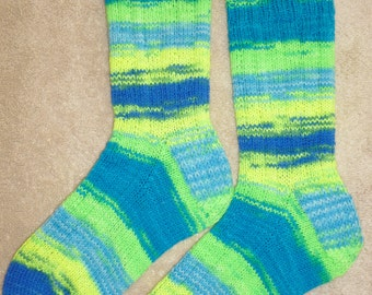 Hand Knit Womens or Mens Wool Socks - Regia Fluorescent Neon wool sock yarn (S-137)