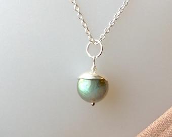 Flashy Labradorite Pendant, Labradorite Necklace, Superior Quality,Sterling Silver, 10mm, Natural Gemstone, Grey Gemstone, Grey Moonstone