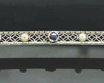 Antique American 14k Gold Filigree Bar Pin w/ Pearls & Sapphires