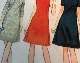 Very Cute Vintage A-Line Dress in Three Versions---McCalls 8865---Size 12 Bust 32