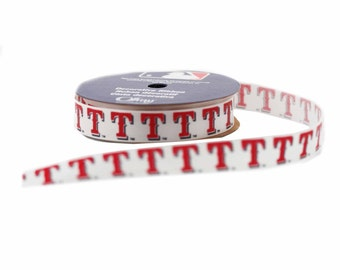 Offray MLB Texas Rangers Fabric Ribbon, 5/8-Inch by 9-Feet, White/Red