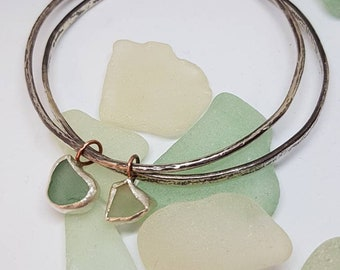 Sterling silver double bangle with seaglass. Sea glass bangle bracelet 925, beach, surf style jewellery, Cornwall, Ocean, hippy, festival