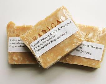 Nutmeg Soap - Fragrance Free Unscented Soap - Natural Handmade Hot Process Lard Olive Oil - Easter Gift