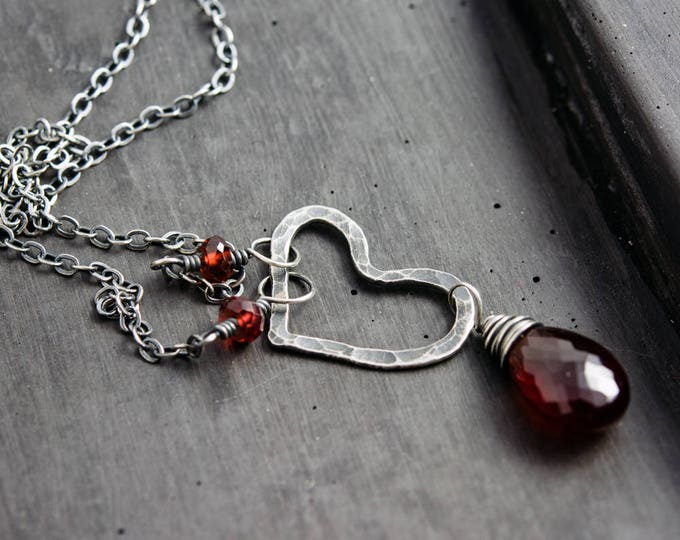 Garnet Necklace, Gemstone Necklace, January Birthstone, Birthstone Necklace, Garnet Pendant, Spessartite Garnet, Sterling Silver, PoleStar
