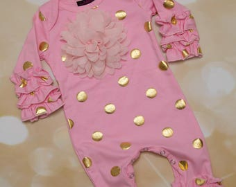 Pink and Gold Ruffle Infant Layette Cotton Baby Romper with Large Chiffon On The Chest and Matching Headband