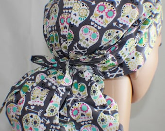 Sugar Skulls, Surgical Scrub Hat, Scrub Cap, OR Scrub Hat, Women's Surgical Scrub Hat,Front Fold Ponytail