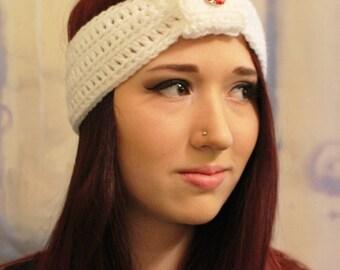 White Ear Warmer Headband with Red Jewel Embellishment