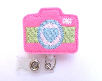 Badge holder Retractable - Picture Day badge reel - pink felt camera badge reel - photographer photography nurse teacher student