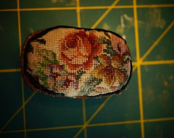 Dollhouse Miniature Footstool with Antique Petit Point