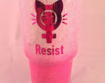 Womens March Pride Resist Pink & White Holographic Ombre Glitter 30oz Stainless Steel Tumbler.