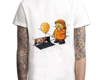 The Simpsons And IT Shirt - Men's Gift Unisex Gift T-Shirt - Nerd Clothing Otaku - Gym Wear Sleep Wear Pajamas - Ralph Wiggums Pennywise