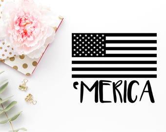 Merica Svg - American Flag SVG - Fourth Of July Svg - Flag dxf - Flag png