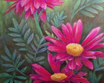 original art  color pencil floral cone flower wall decor 16x20