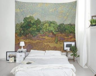 Wall Tapestry, Vincent Van Gogh, Olive Trees Art, Wall Blanket, Classic Paintings, Van Gogh Print, Landscape Art, Classic Tapestry