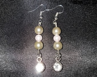 Faux Pink and Gray Earrings