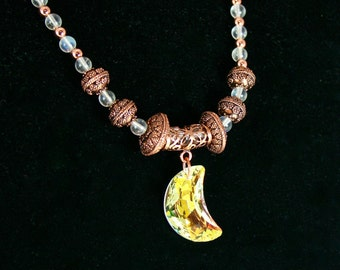 Moon Swarovski Pendant Copper Necklace