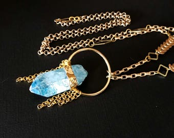 Raw Aqua Aura Quartz Crystal with Electroplated & Gold Chain Necklace