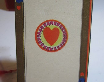 Art Deco 1920's  unused P.F. Volland bridge tally card  colorful gold gilded Ace of hearts playing card