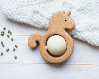 Traditional Wooden Rattle. Teething Toy. Natural Wooden Infant Toy. Eco Friendly Baby toy. Unicorn rattle.  Newborn gift.