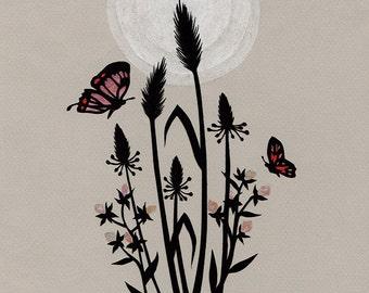 Friendly Wings of the Night - 8 x 10 inch Cut Paper Art Print