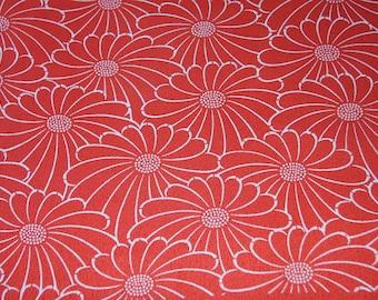 Floral kimono fabric / Orange red Chrysanthemum/ Vintage Kimono silk fabric