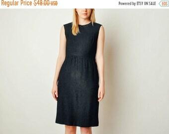ON SALE - Vintage Embellished Collar Black Dress