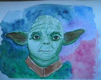 ORIGINAL ART WORK, Yoda, Star Wars, Fan Art, Quirky Art, Galaxy Art, Space Art, Cute