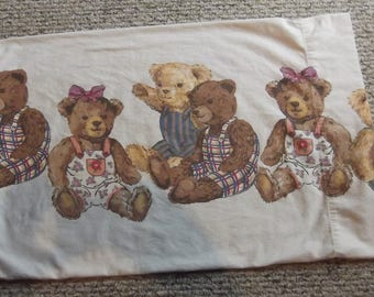 White Flannel Pillowcase with Teddy Bears