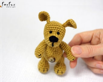 Miniature dog lover gift Plush dog Stuffed dog Tiny dog Collectible miniature puppy Stuffed animal Pocket pet Tiny puppy Miniature animal
