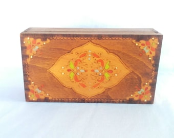 Vintage Jewelry box, Hand Carved and Painted Pencil Case, Colorful  Wooden Box,  Folk Art Woodwork,Handmade Wooden Box