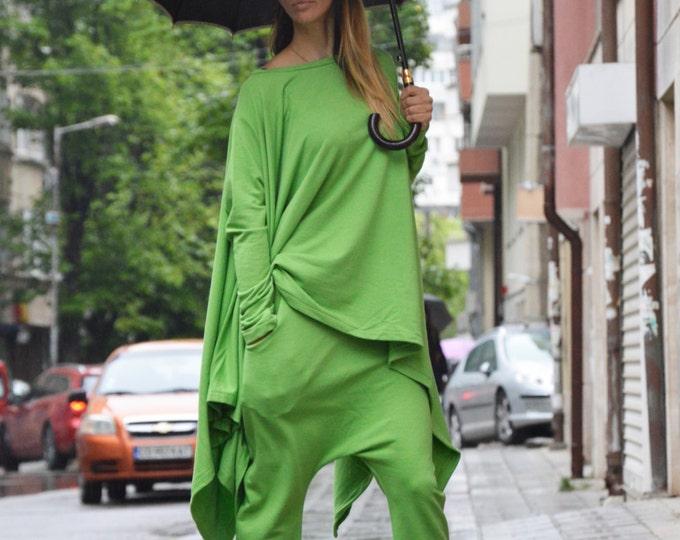 Maxi Green Cotton Set, Drop Crotch Pants, Loose Asymmetric Sweatshirt, Extravarant Combo Set By SSDfashion