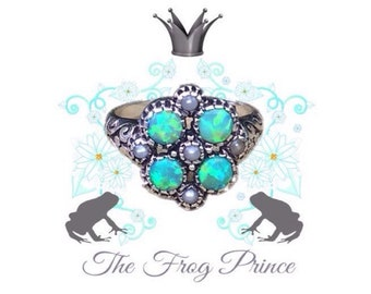 The Frog Prince Green Opal And Pearl Antiqued Sterling Silver Ring Size 6