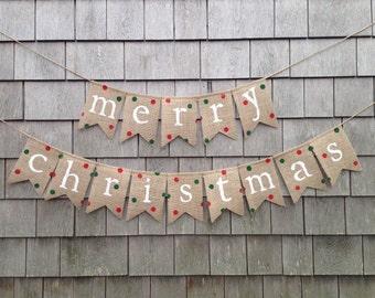 Ready to Ship, Christmas Decor, Christmas Banner, Christmas Garland Bunting, Burlap Merry Christmas, Burlap banner, Polka Dot Burlap Garland