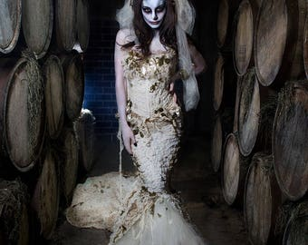 Custom Size Ivory Burlesque zombie Bride corset mermaid style dress with long train and moss and veil