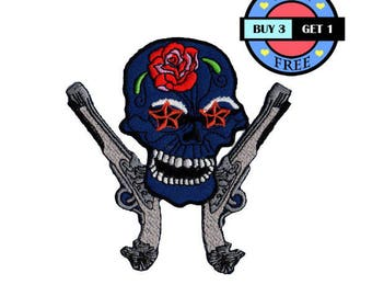 Sugar Skull Tattoo Rock Punk Dead Gun Embroidered Iron On Patch Heat Seal Applique Sew On Patches