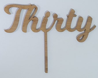 Thirty Curl Font Cake Topper