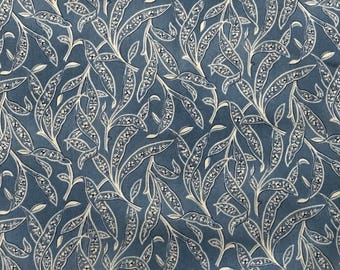 By The HALF YARD - Sara's Stash by Sara Morgan for Blue Hill Fabrics, Pattern #7413-7 Navy Blue and Cream Leaves on a Tonal Denim Blue