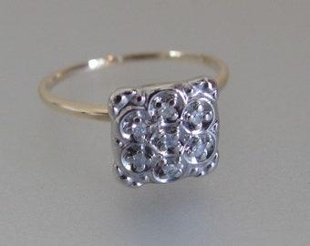 Vintage Diamond Cluster Ring | 10K Yellow Gold Ring | Square Bridal Ring | Vintage 1940s Cluster Ring | Gift Jewelry Jewellery