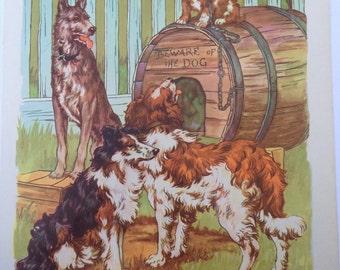 Visiting the New Puppy A Clara M Burd Vintage Print 1930s Childrens Book Print