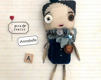 Art Doll : OOAK handcrafted doll from fabric and wire. Annabelle is a cute whimsical creature, a quirky collectible soft sculpture