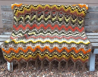 Crochet Afghan in Autumn Colors